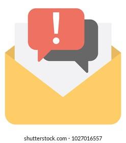 New message alert, communication concept flat icon