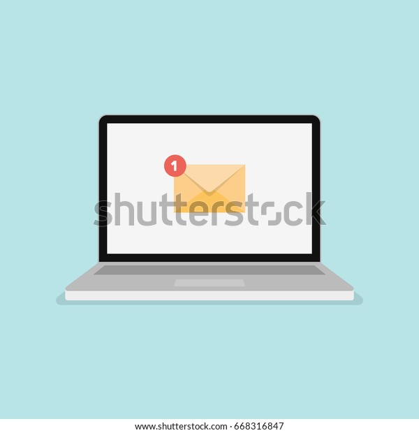New Message icon on computer screen. New Email modern vector illustration.