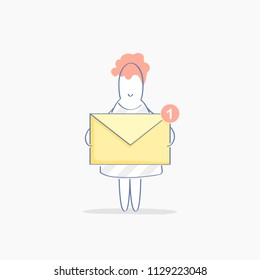 New message, inbox letter concept. Cute funny woman holds a yellow envelope with notification, this is a new email letter. Correspondence, communication, messaging concept. Modern flat line design.