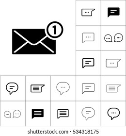 new message, notification  icon on white background, dialog box set