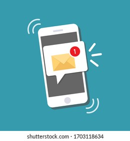 New message on the smartphone screen. Email notification concept.  Unread email notification. Vector illustration.