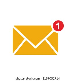 New Message, One new incoming message envelope with notification, vector object