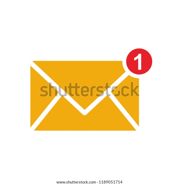 New Message One New Incoming Message Stock Vector (Royalty