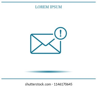 New message, picture of letter with exclamation mark vector icon.