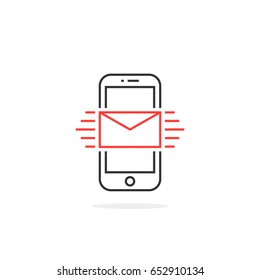 new message in thin line phone. flat linear style trend modern logotype outlined ui graphic art design isolated on white. concept of on-line subscription like marketing and feedback in e-commerce