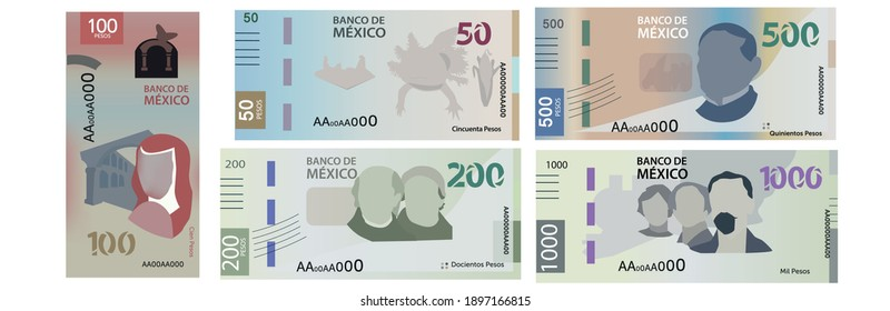 New Mexican bills of 50, 100, 200, 500 and 1,000 pesos.
