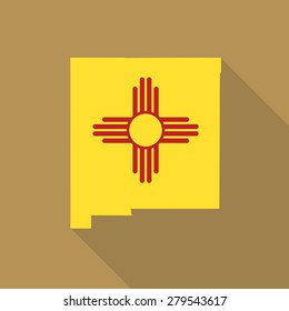 New Mexico flag,map flat icon with long shadow. Vector EPS10