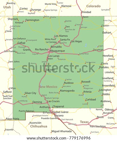 Free New Mexico Map.New Mexico Map Shows State Borders Stock Vector Royalty Free
