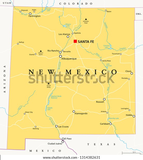santa fe new mexico map usa New Mexico Political Map Capital Santa Stock Vector Royalty Free