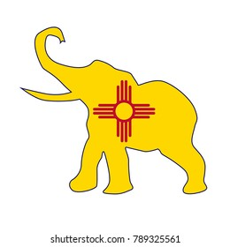 The New Mexico Republican elephant flag over a white background