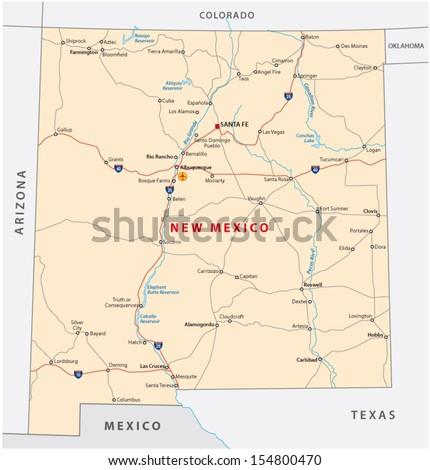 Road Map Of Arizona And New Mexico.New Mexico Road Map Stock Vector Royalty Free 154800470 Shutterstock