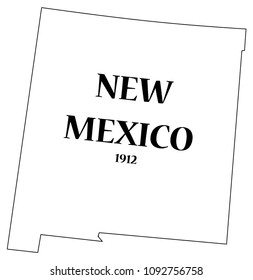 A New Mexico state outline with the date of statehood isolated on a white background