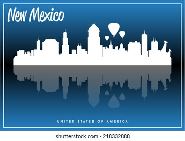 New Mexico, USA skyline silhouette vector design on parliament blue background.