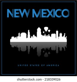 New Mexico, USA skyline silhouette vector design on black background.