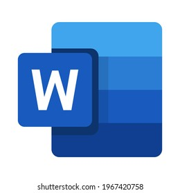 New Microsoft Word icon. Creative modification icon with initial name. Vector illustration isolated on white background