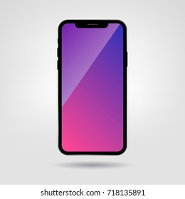 New Mobile Phone X Blank Screen, Vector illustration. Black Smartphone 10. Colorful Blank Screen Vector Mock Up of New Mobile Phone.