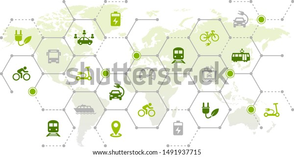 new mobility icon concept: worldwide individual transportation alternatives, e-car, e-bike, scooter, car sharing - vector illustration