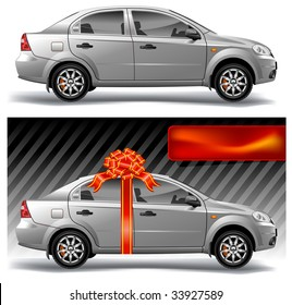 New model of vector auto with red bow, vector, illustration