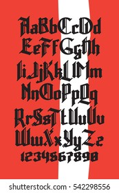 New modern custom gothic font. Full alphabet set with digits on red background