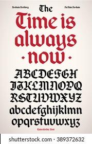 New modern gothic alphabet font.
