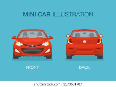New modern mini car. Front and back view. Flat vector illustration.