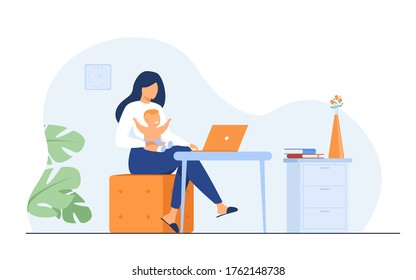 New mom working at home. Working mother holding baby in arms, using computer at her workplace. Can be used for freelance worker with kid, maternity, motherhood, online job concept