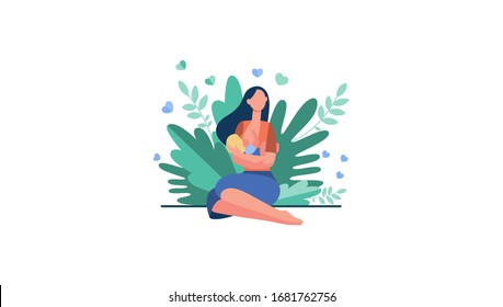 New mother feeding baby with breast. Young woman holding little child in arms. Vector illustration for breastfeeding, health, baby food, motherhood, care concept