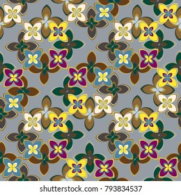 New multicolor seamless pattern with cute flower.