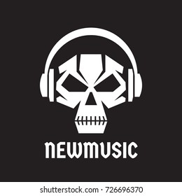 New music - vector logo template concept illustration. Human skull with headphones sign. Death audio sign. Modern sound icon. Design element