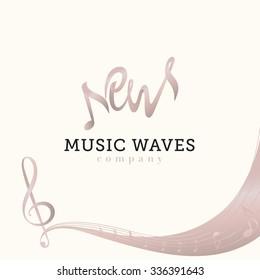 New music waves gray pink vector logo