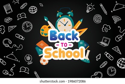 new normal back to school online flat icon vector black borde background
