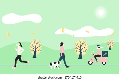 New normal concept. People  change lifestyle after  the Coronavirus or Covid-19 pandemic. People change to new normal. vector Illustration.