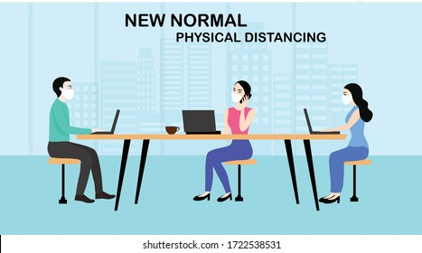 New normal concept and physical distancing people working keep distance and wearing face mask prevention from disease outbreak vector illustration. New normal after COVID-19 pandemic concept