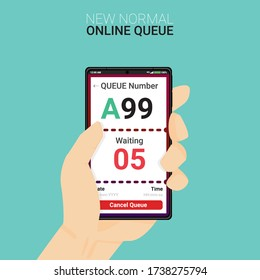 New normal concept and physical distancing people keep distance from each other and customer used queue app for prevention from disease outbreak. Vector of new behavior after Covid-19 pandemic