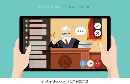 New normal concept and physical distancing, Hands holding tablet and watching the judge adjudges case online for prevention from disease outbreak. Vector illustration of new behavior after Covid-19 pa