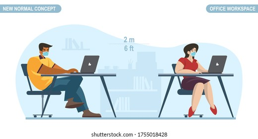 New normal concept. Social distancing at Office room. People Office worker man and women wearing medical face mask. Keep distance prevent pandemic of corona virus or COVID-19. Vector illustration