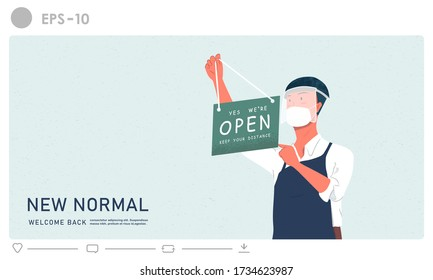 New normal concept. Store shop is open business illustration. Effect of corona virus or covid-19 outbreak 2020. The man hanging open or welcome sign shop vector background.