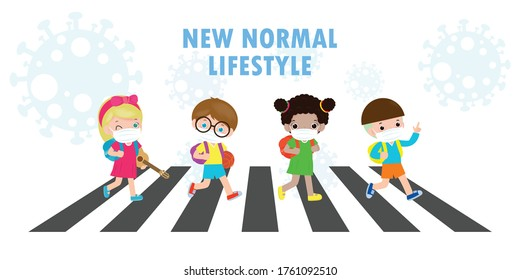 new normal lifestyle concept Back to school happy cute diverse Kids  across the crosswalk and Students of Different nationalities wearing medical masks during Coronavirus or covid-19 Social distancing