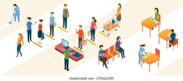Neue Normalität, Menschen in sozialer Distanz und kontaktlose Bezahlung, Einkaufszentrum und Lager, Vorbeugung von Coronavirus Covid-19