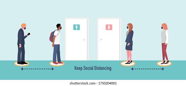 New normal and Social distancing concept. People wearing mask  keep distance in queue while waiting to use public toilet.  Flat vector Illustration.