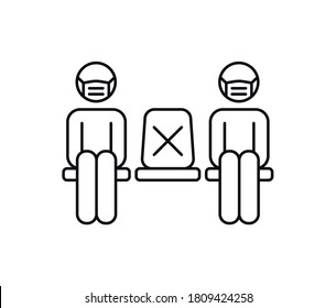New normal social distancing icon. People in medical mask sitting on chairs keeping distance to prevent covid-19 coronavirus. Line vector design isolated on white background.