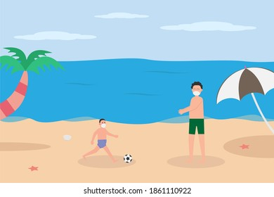 New Normal vector concept: Boy and his father wearing face mask while playing football and enjoying holiday on beach during new normal life after coronavirus pandemic