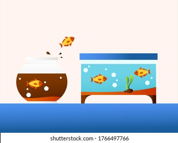 New Normal vector concept: goldfish jumping from a dirty aquarium to another clean one