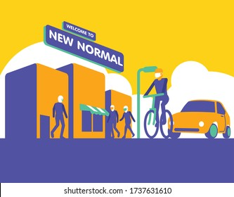 New Normal, World city after pandemic corona virus - vector illustration