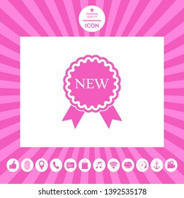 New offer icon with ribbons. Graphic elements for your design