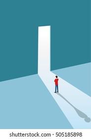 New opportunities concept vector background with businessman standing in front of door.