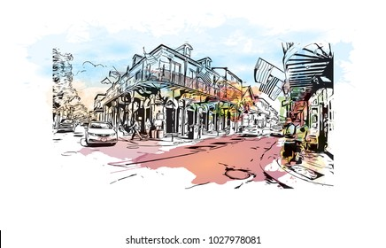 New Orleans City in Louisiana, USA. Watercolor splash with Hand drawn sketch illustration in vector.