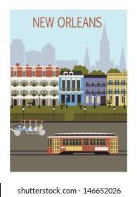 New Orleans city. Louisiana. USA. Vector