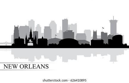 New Orleans city skyline silhouette background, vector illustration