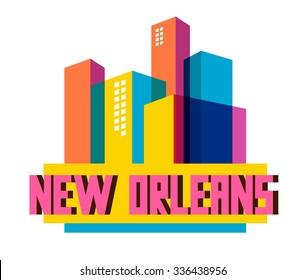 New Orleans city travel destination in USA. vector cartoon,